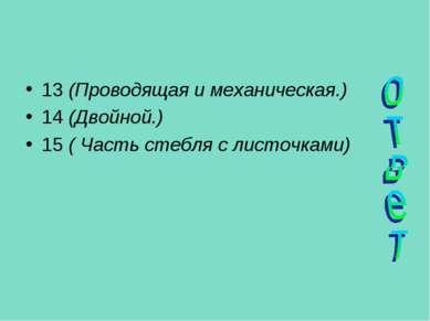 13 (Проводящая и механическая.) 14 (Двойной.) 15 ( Часть стебля с листочками)