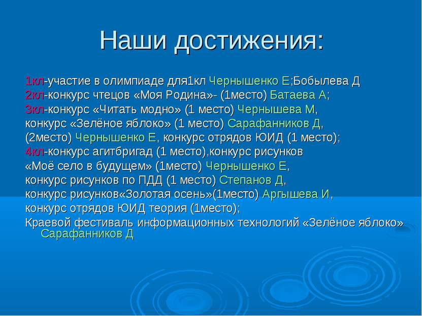 Наши достижения: 1кл-участие в олимпиаде для1кл Чернышенко Е;Бобылева Д 2кл-к...