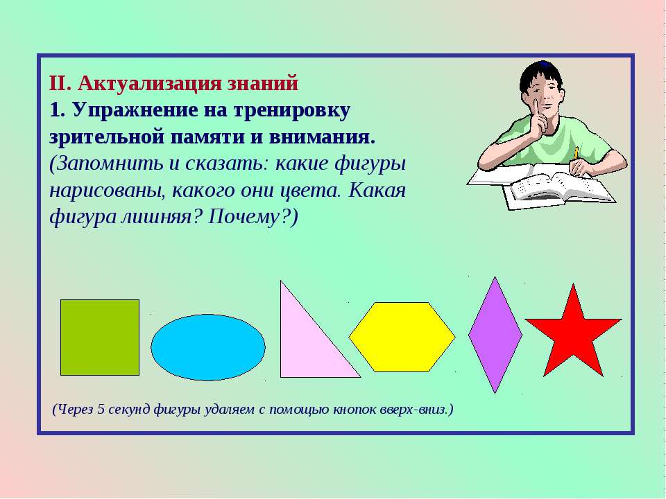 II. Актуализация знаний 1. Упражнение на тренировку зрительной памяти и внима...