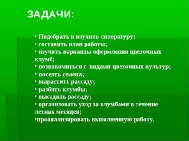 Подобрать и изучить литературу; составить план работы; изучить варианты оформ...