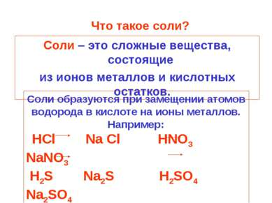 Что такое соли? Соли – это сложные вещества, состоящие из ионов металлов и ки...