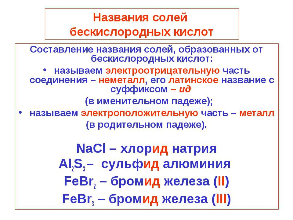 Названия солей бескислородных кислот Составление названия солей, образованных...