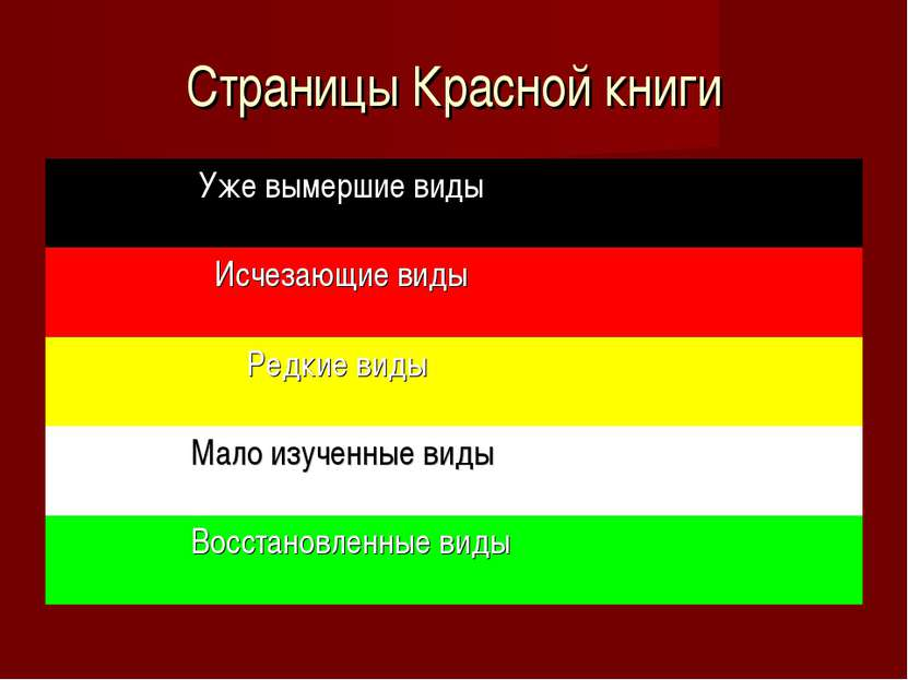 Страницы Красной книги Уже вымершие виды Исчезающие виды Редкие виды Мало изу...