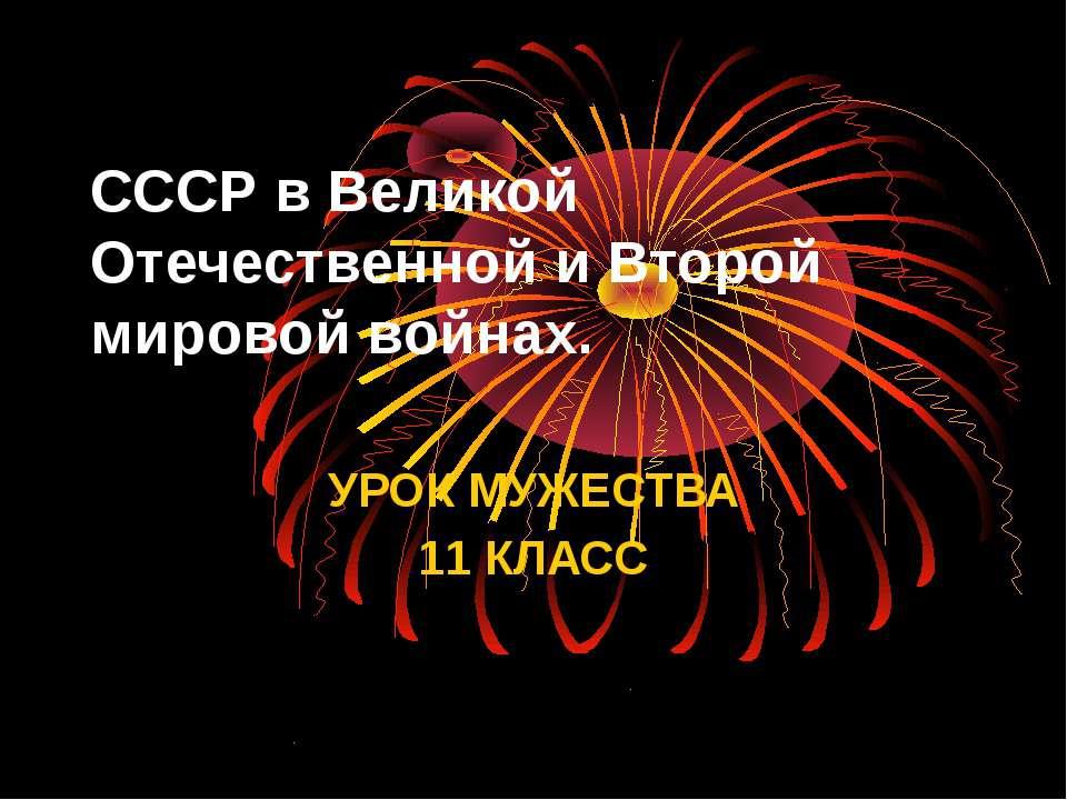 СССР в Великой Отечественной и Второй мировой войнах. УРОК МУЖЕСТВА 11 КЛАСС