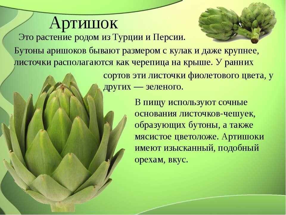 Артишок Это растение родом из Турции и Персии. Бутоны аришоков бывают размеро...