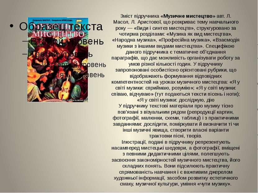 Зміст підручника «Музичне мистецтво» авт. Л. Масол, Л. Аристової, що розкрива...