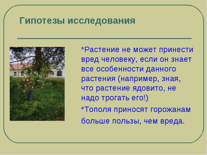Гипотезы исследования *Растение не может принести вред человеку, если он знае...