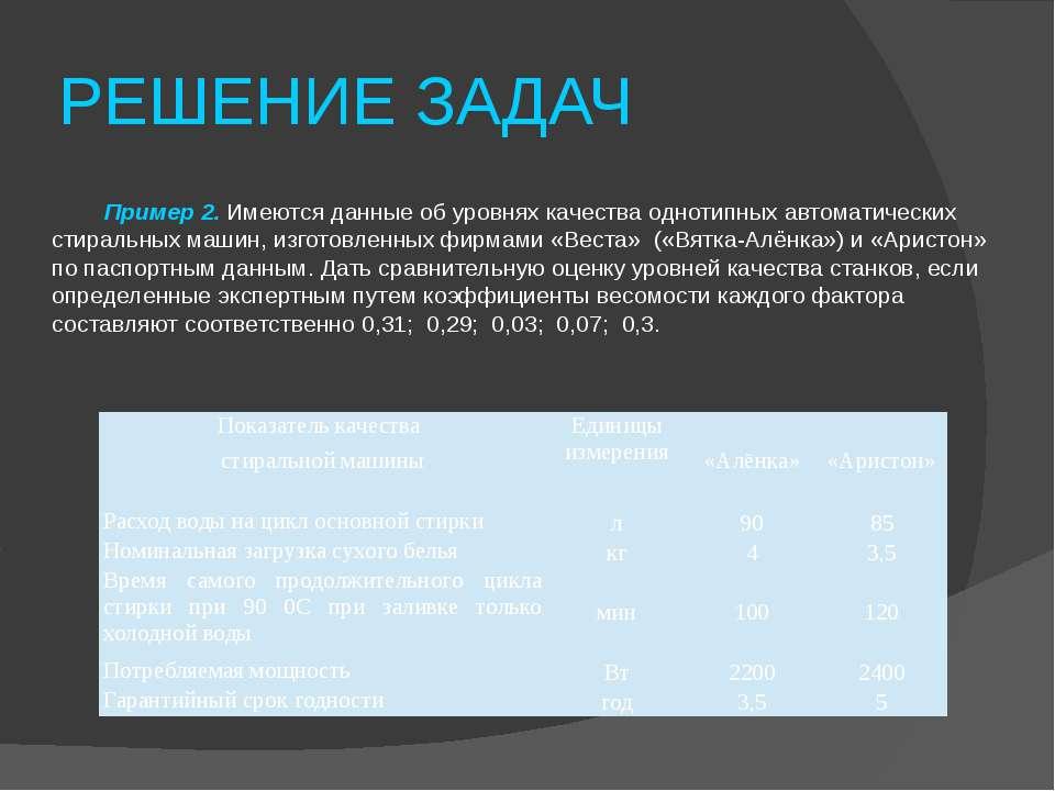 РЕШЕНИЕ ЗАДАЧ Пример 2. Имеются данные об уровнях качества однотипных автомат...