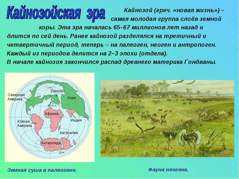 Кайнозой (греч. «новая жизнь») – самая молодая группа слоёв земной коры. Эта ...