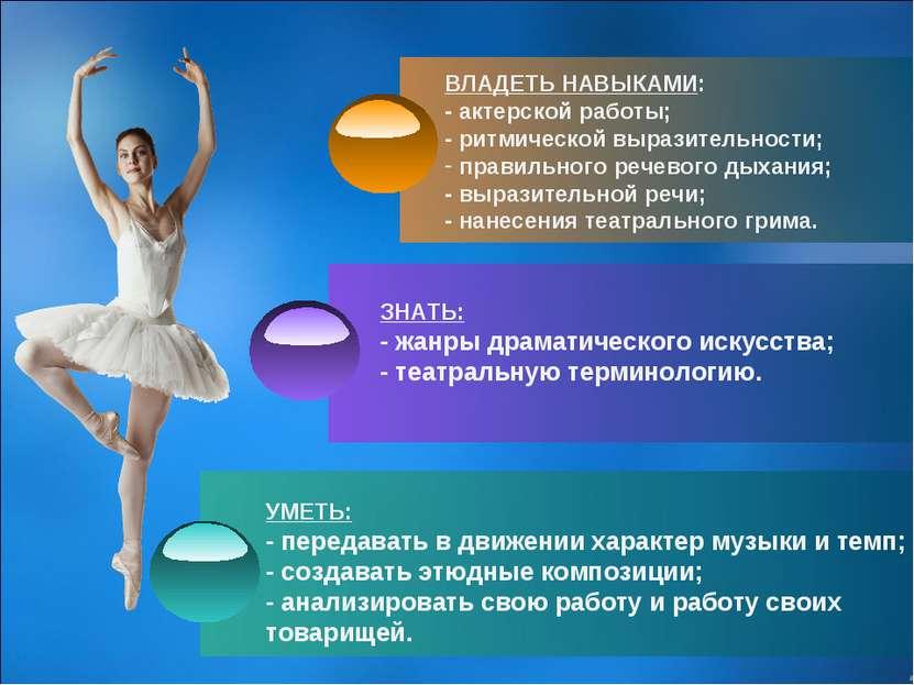 ВЛАДЕТЬ НАВЫКАМИ: - актерской работы; - ритмической выразительности; правильн...