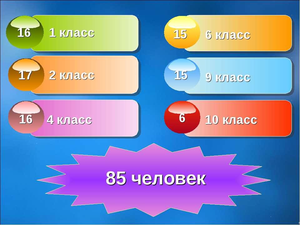 1 класс 2 класс 4 класс 6 класс 9 класс 10 класс 16 17 16 15 15 6 85 человек