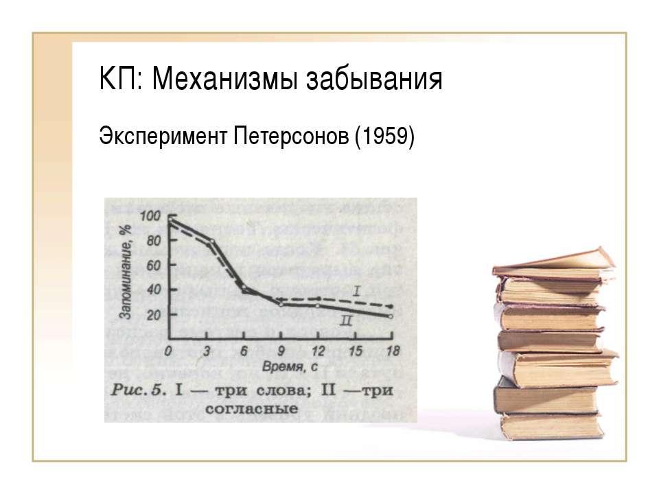 КП: Механизмы забывания Эксперимент Петерсонов (1959)