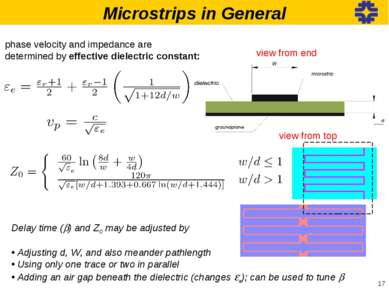 Microstrips in General phase velocity and impedance are determined by effecti...