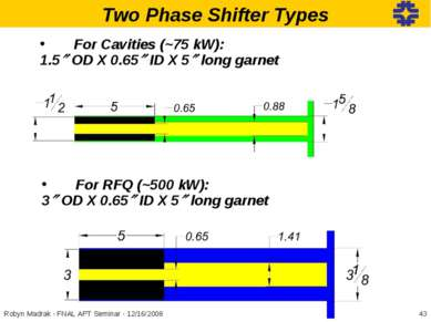 Two Phase Shifter Types For Cavities (~75 kW): 1.5 OD X 0.65 ID X 5 long garn...