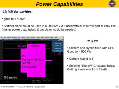 Power Capabilities 1⅝ VM for cavities: good to >75 kW Shifters alone could be...