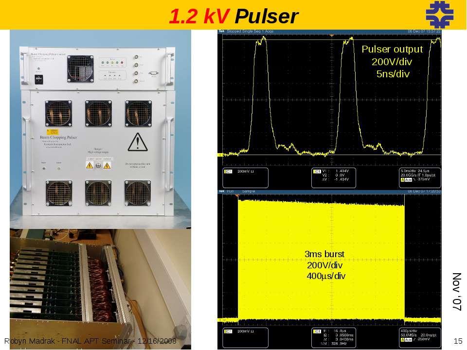 Pulser output 200V/div 5ns/div 3ms burst 200V/div 400ms/div 1.2 kV Pulser Nov...