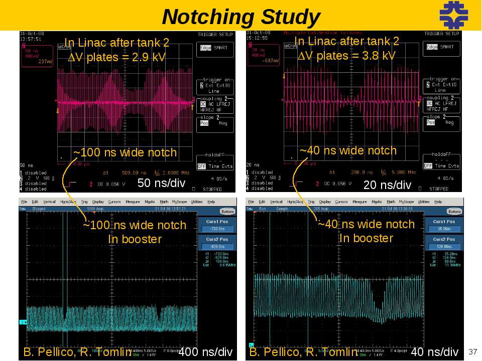 In Linac after tank 2 DV plates = 2.9 kV ~100 ns wide notch 50 ns/div 20 ns/d...