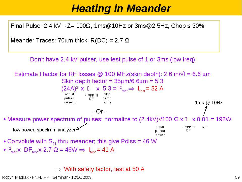 Heating in Meander Final Pulse: 2.4 kV→Z= 100Ω, 1ms@10Hz or 3ms@2.5Hz, Chop ≤...