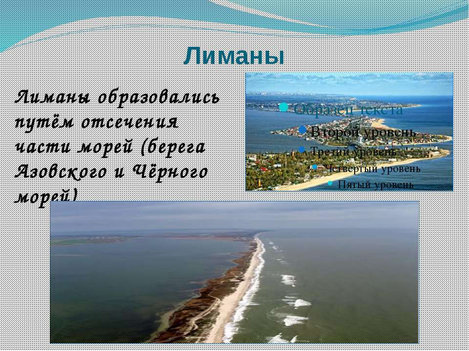 Лиманы Лиманы образовались путём отсечения части морей (берега Азовского и Чё...