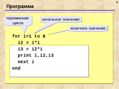 * Программа for i=1 to 8 i2 = i*i i3 = i2*i print i,i2,i3 next i end переменн...
