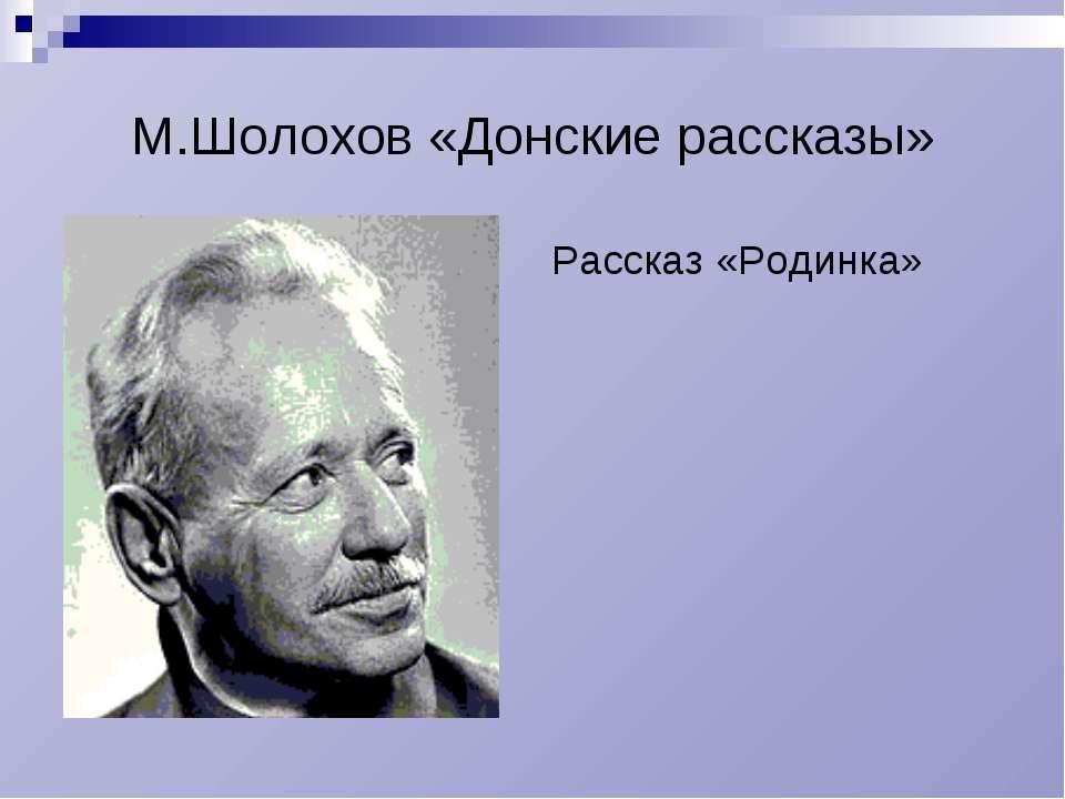 М.Шолохов «Донские рассказы» Рассказ «Родинка»