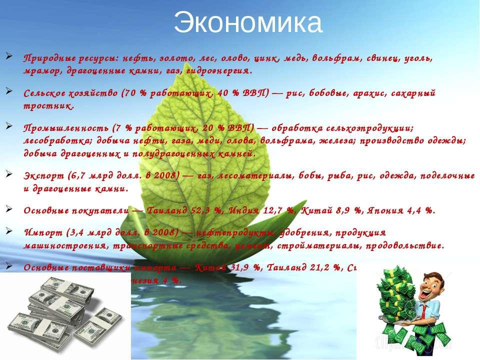 Экономика Природные ресурсы: нефть, золото, лес, олово, цинк, медь, вольфрам,...