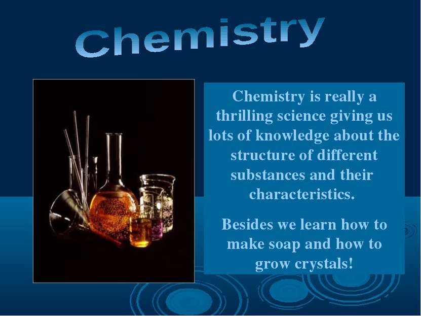 Chemistry is really a thrilling science giving us lots of knowledge about the...