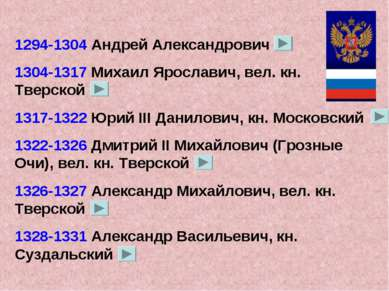 1294-1304 Андрей Александрович 1304-1317 Михаил Ярославич, вел. кн. Тверской ...