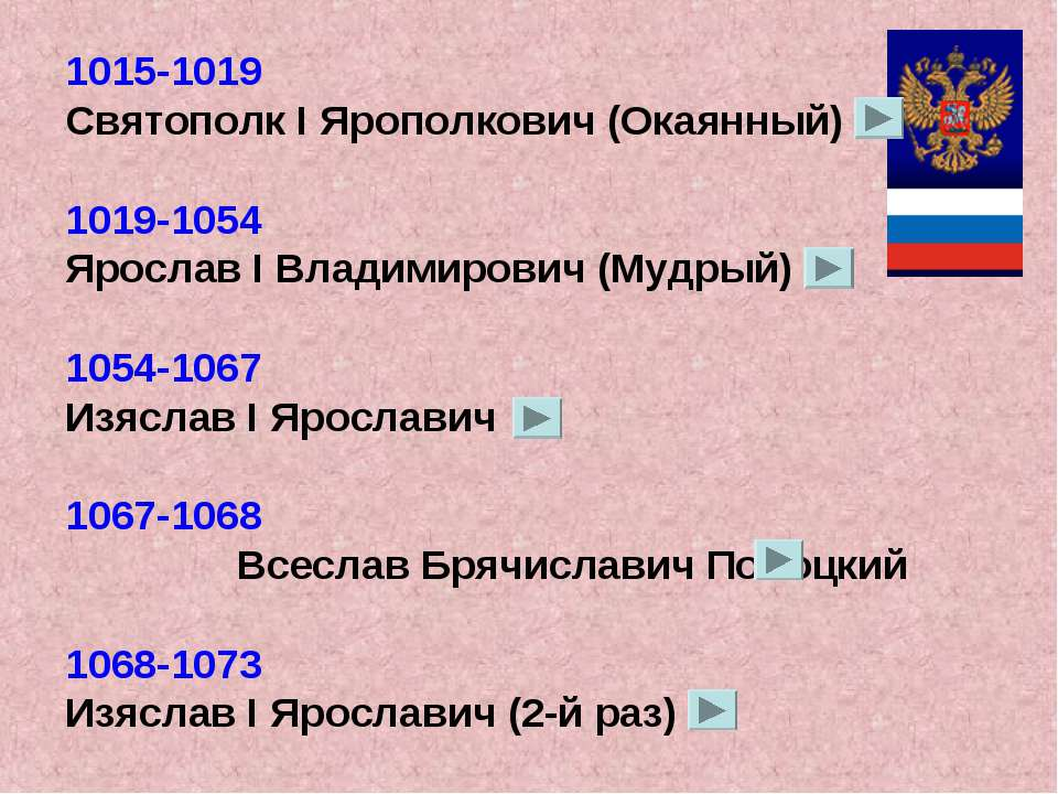 1015-1019 Святополк I Ярополкович (Окаянный) 1019-1054 Ярослав I Владимирович...