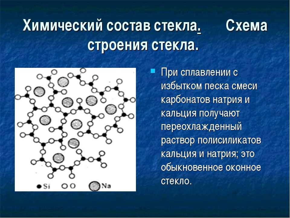 Химический состав стекла. Схема строения стекла. При сплавлении с избытком пе...