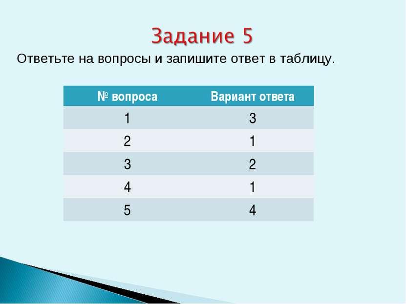 Ответьте на вопросы и запишите ответ в таблицу.. № вопроса Вариант ответа 1 3...