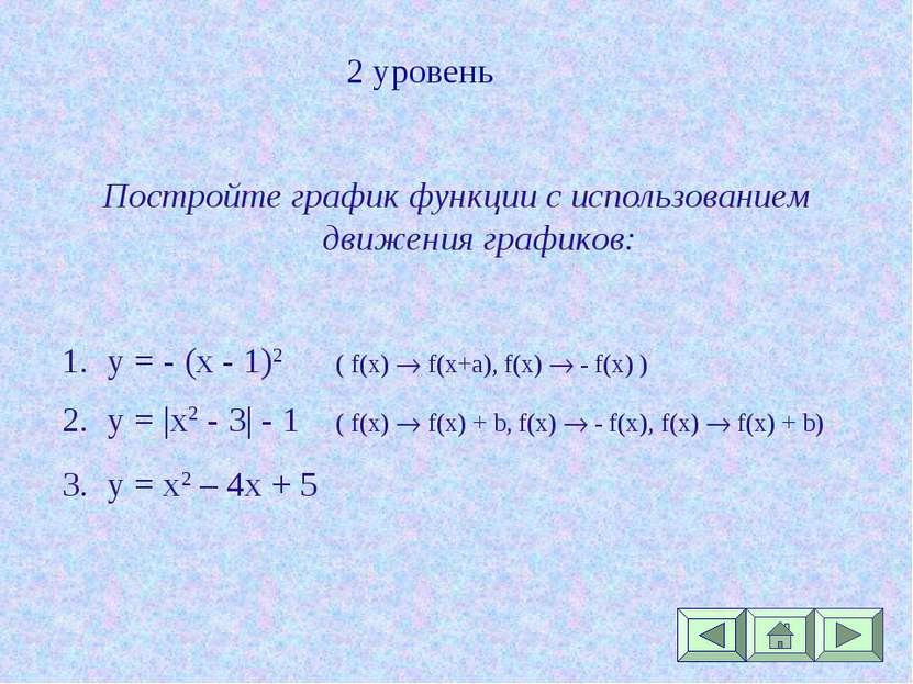 2 уровень Постройте график функции с использованием движения графиков: y = - ...