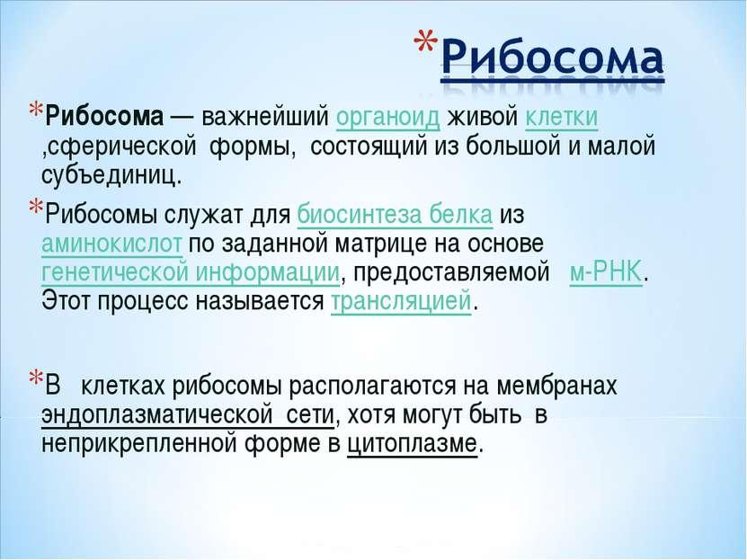Рибосома— важнейший органоид живой клетки ,сферической формы, состоящий из б...