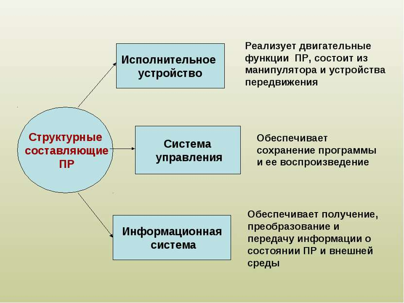 Структурные составляющие ПР Исполнительное устройство Система управления Инфо...