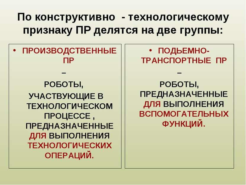 По конструктивно - технологическому признаку ПР делятся на две группы: ПРОИЗВ...