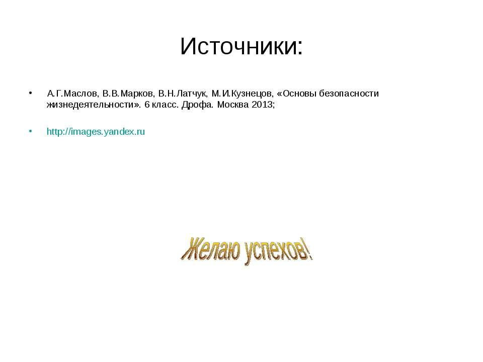 Источники: А.Г.Маслов, В.В.Марков, В.Н.Латчук, М.И.Кузнецов, «Основы безопасн...