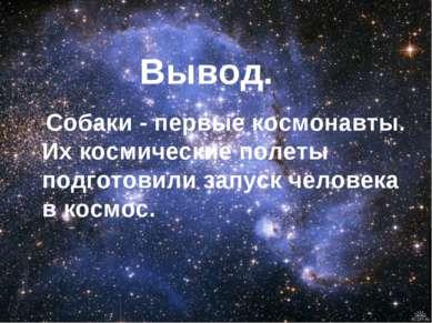 Вывод. Собаки - первые космонавты. Их космические полеты подготовили запуск ч...