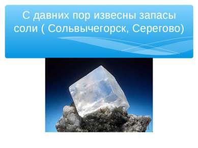 С давних пор извесны запасы соли ( Сольвычегорск, Серегово)