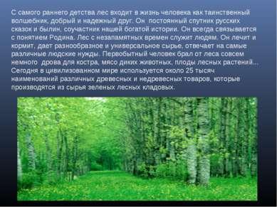 С самого раннего детства лес входит в жизнь человека как таинственный волшебн...