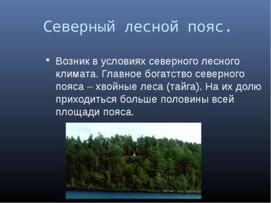 Северный лесной пояс. Возник в условиях северного лесного климата. Главное бо...