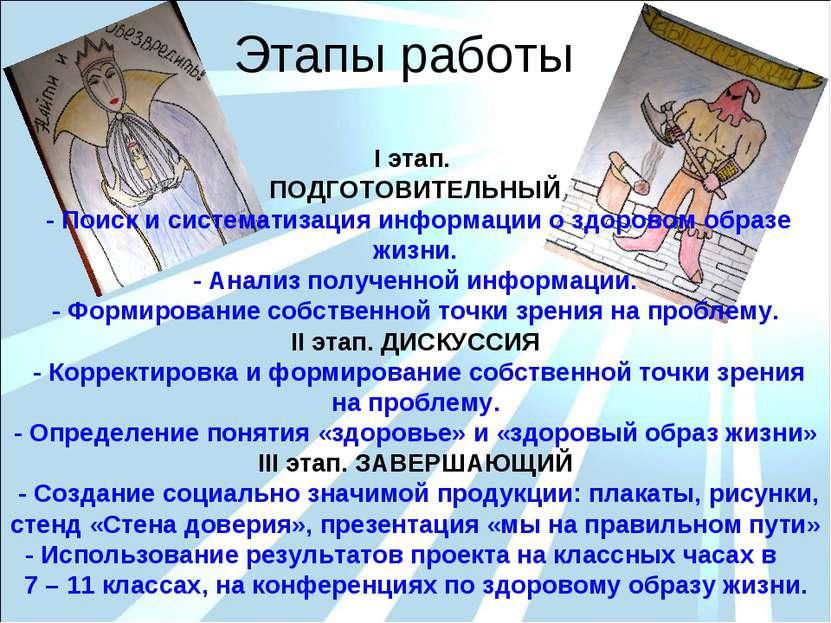 Этапы работы I этап. ПОДГОТОВИТЕЛЬНЫЙ - Поиск и систематизация информации о з...