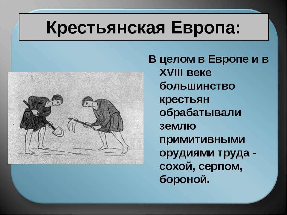 Крестьянская Европа: В целом в Европе и в XVIII веке большинство крестьян обр...