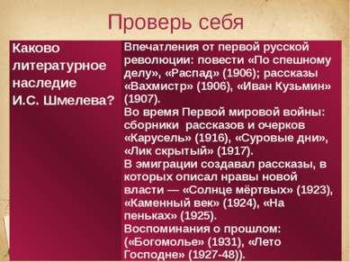 Проверь себя Каково литературное наследие И.С. Шмелева? Впечатления от первой...
