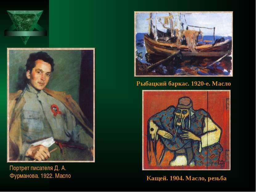 Портрет писателя Д. А. Фурманова. 1922. Масло Рыбацкий баркас. 1920-е. Масло ...