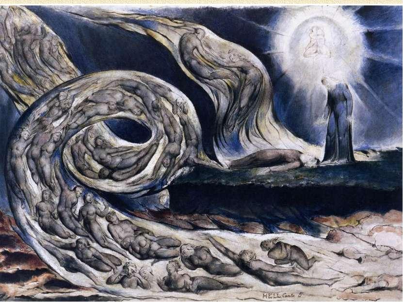 На картине изображен второй круг ада, где находятся души великих любовников: ...