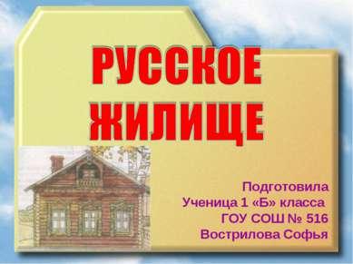 Подготовила Ученица 1 «Б» класса ГОУ СОШ № 516 Вострилова Софья