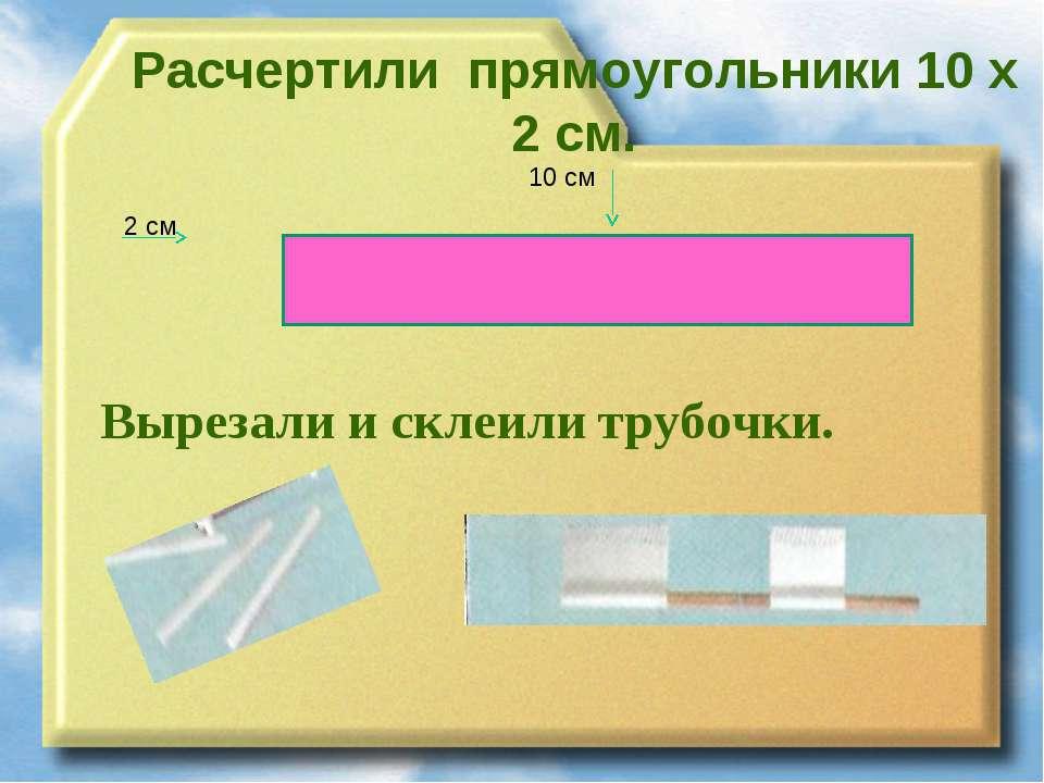 Расчертили прямоугольники 10 х 2 см. 2 см 10 см Вырезали и склеили трубочки.