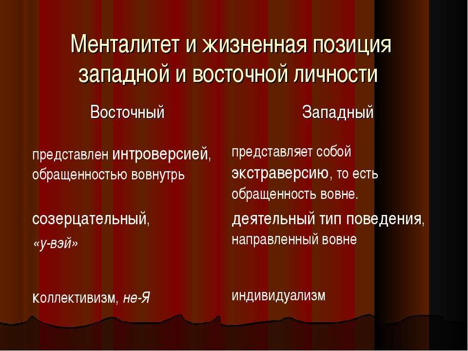 Менталитет и жизненная позиция западной и восточной личности Восточный Западн...