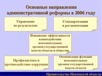 Основные направления административной реформы в 2006 году Правительство Пензе...