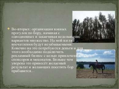 Во-вторых: организация конных прогулок по бору, начиная с однодневных и закан...